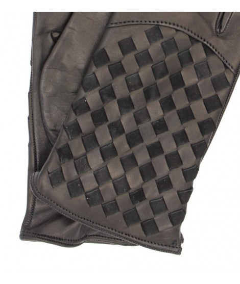 Nappa leather gloves 2bt,cashmere lined with Criss Cross Navy