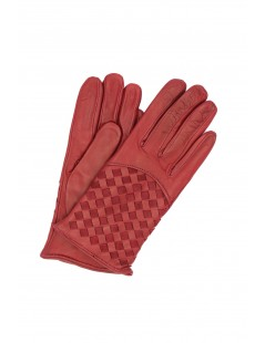 Nappa leather gloves 2bt,cashmere lined with Criss Cross Dark