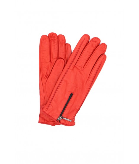 Nappa leather gloves cashmere lined with Zip Red Sermoneta