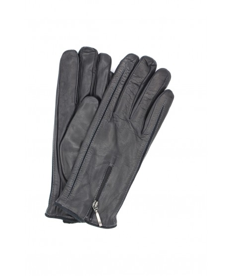 Nappa leather gloves cashmere lined with Zip Dark Grey