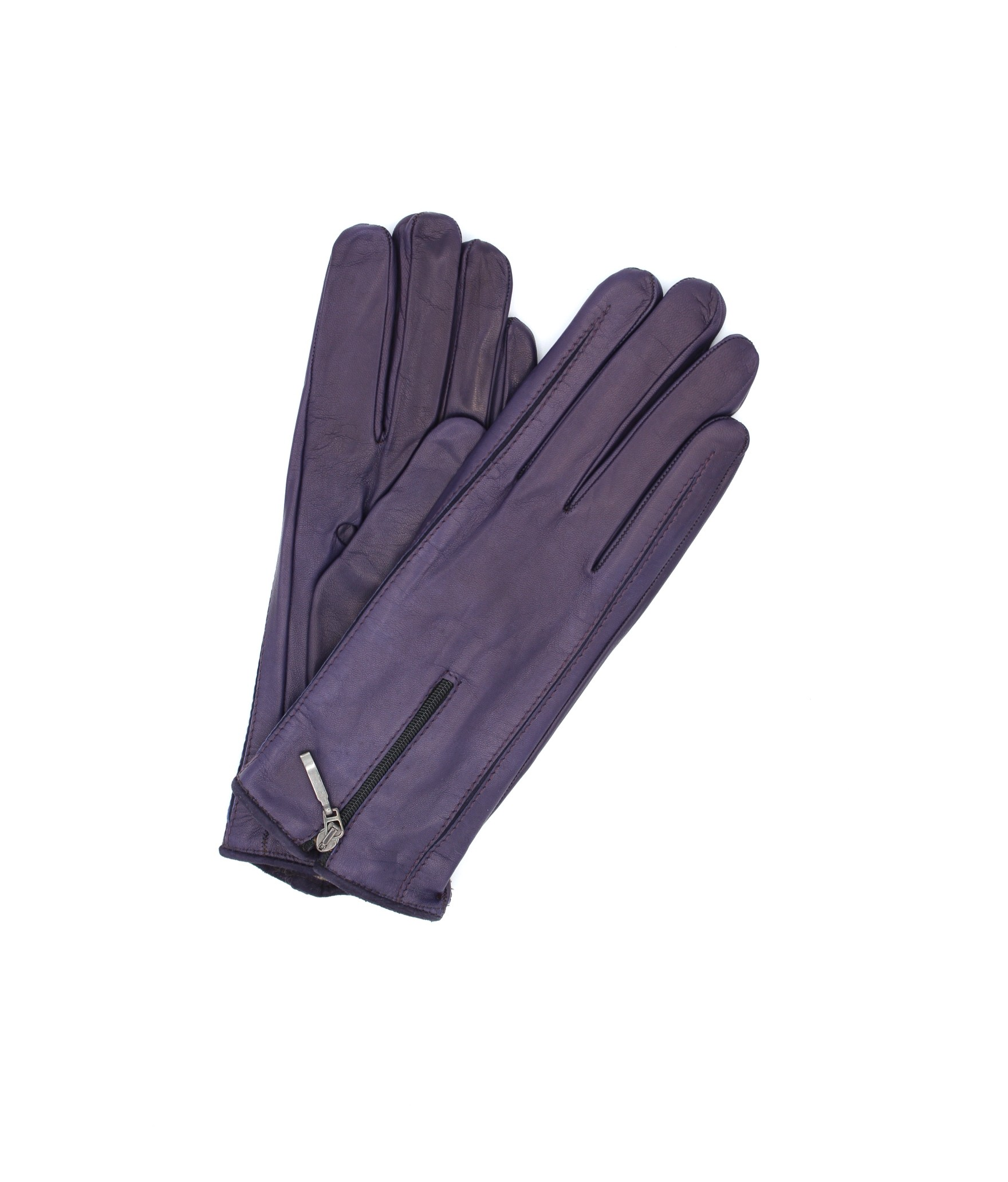Nappa leather gloves cashmere lined with Zip Purple Sermoneta