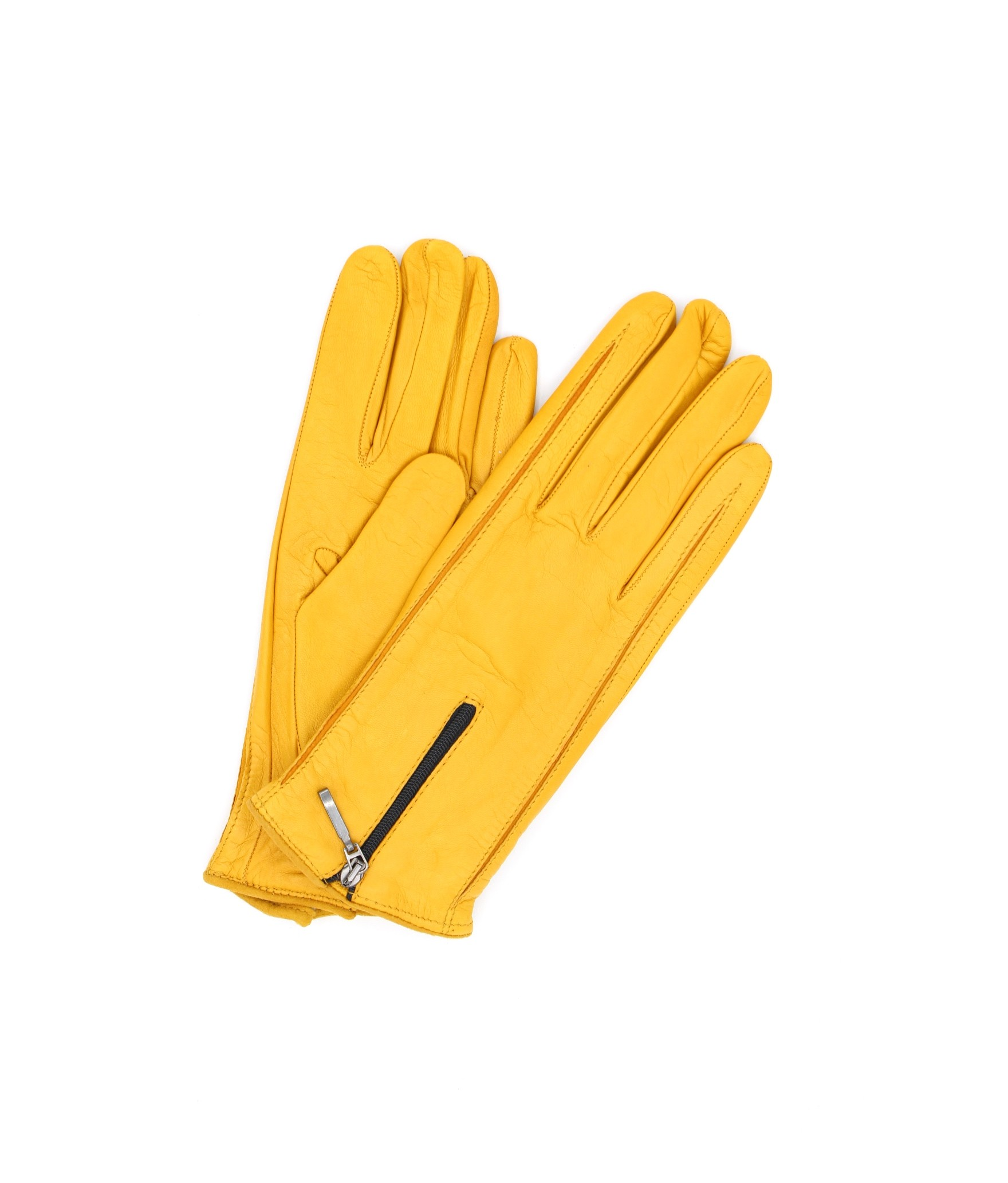 Nappa leather gloves cashmere lined with Zip Ocra Yellow