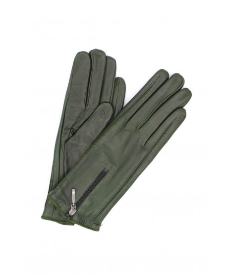 Nappa leather gloves cashmere lined with Zip Dark Green