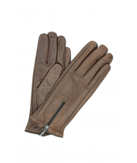 Nappa leather gloves cashmere lined with Zip Mink Sermoneta