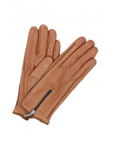 Nappa leather gloves cashmere lined with Zip Tan Sermoneta