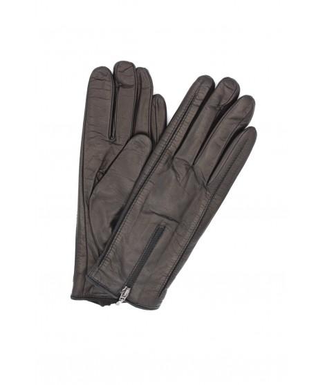 Guanto in Nappa foderato cashmere con zip Nero Sermoneta Gloves