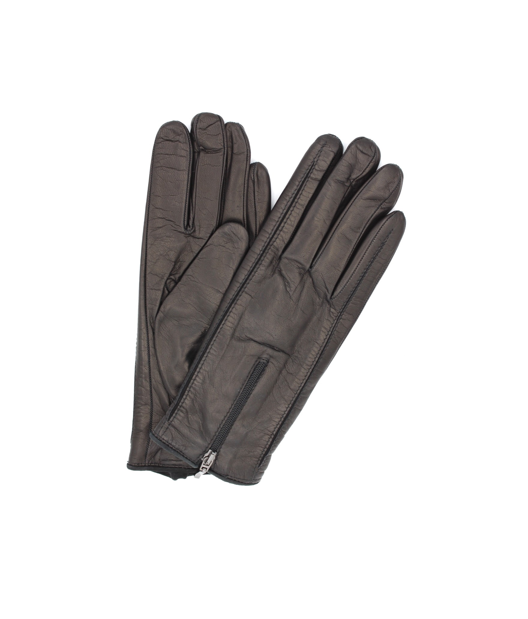 Nappa leather gloves cashmere lined with Zip Black Sermoneta