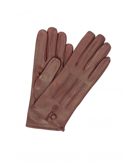 Nappa leather gloves cashmere lined with button Bordeaux