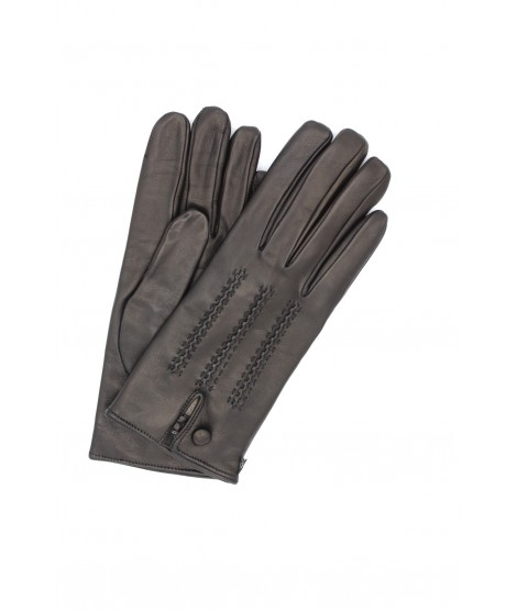 Nappa leather gloves cashmere lined with button Black Sermoneta