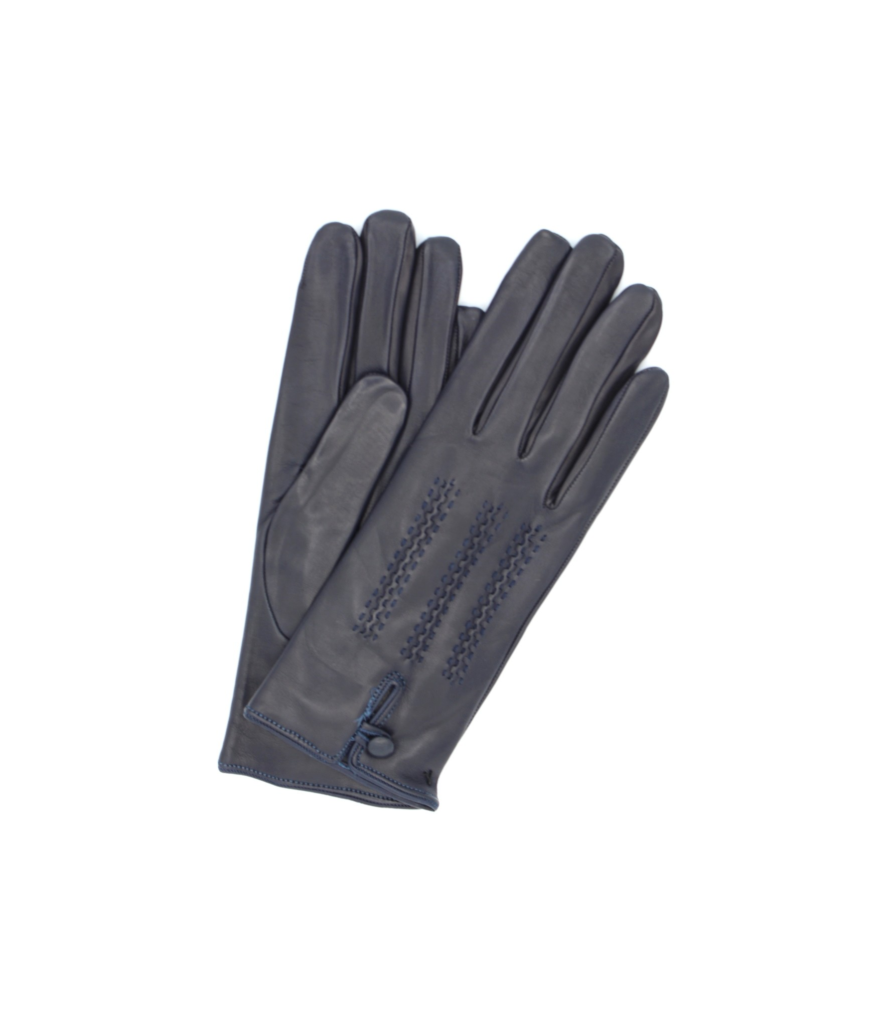 Nappa leather gloves cashmere lined with button Navy Sermoneta