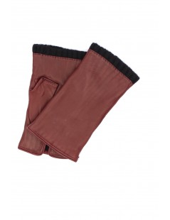 Half Mitten in Nappa leather cashmere lined Dark Red Sermoneta