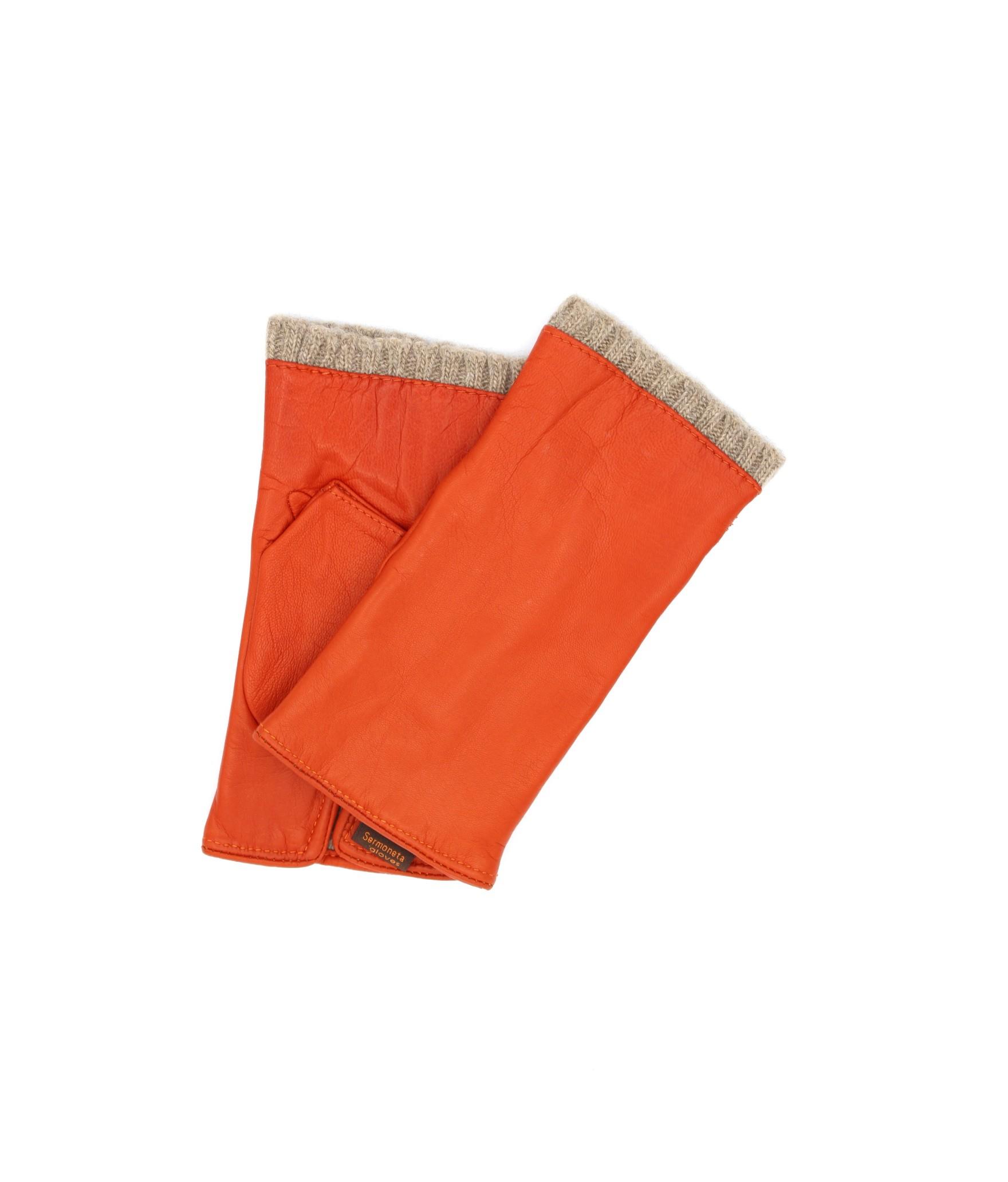 Half Mitten in Nappa leather cashmere lined Orange Sermoneta