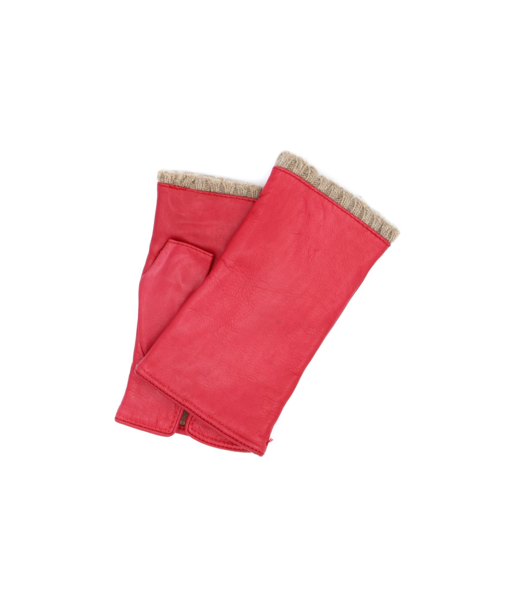 Half Mitten in Nappa leather cashmere lined Red Sermoneta