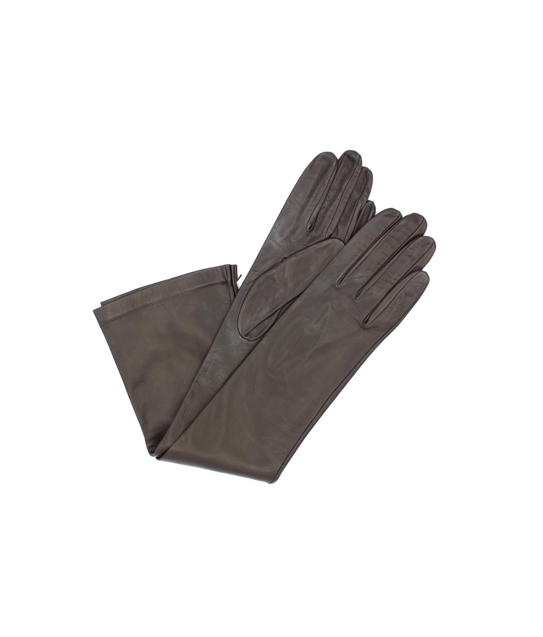 Nappa leather gloves 10bt silk lined Dark Brown Sermoneta