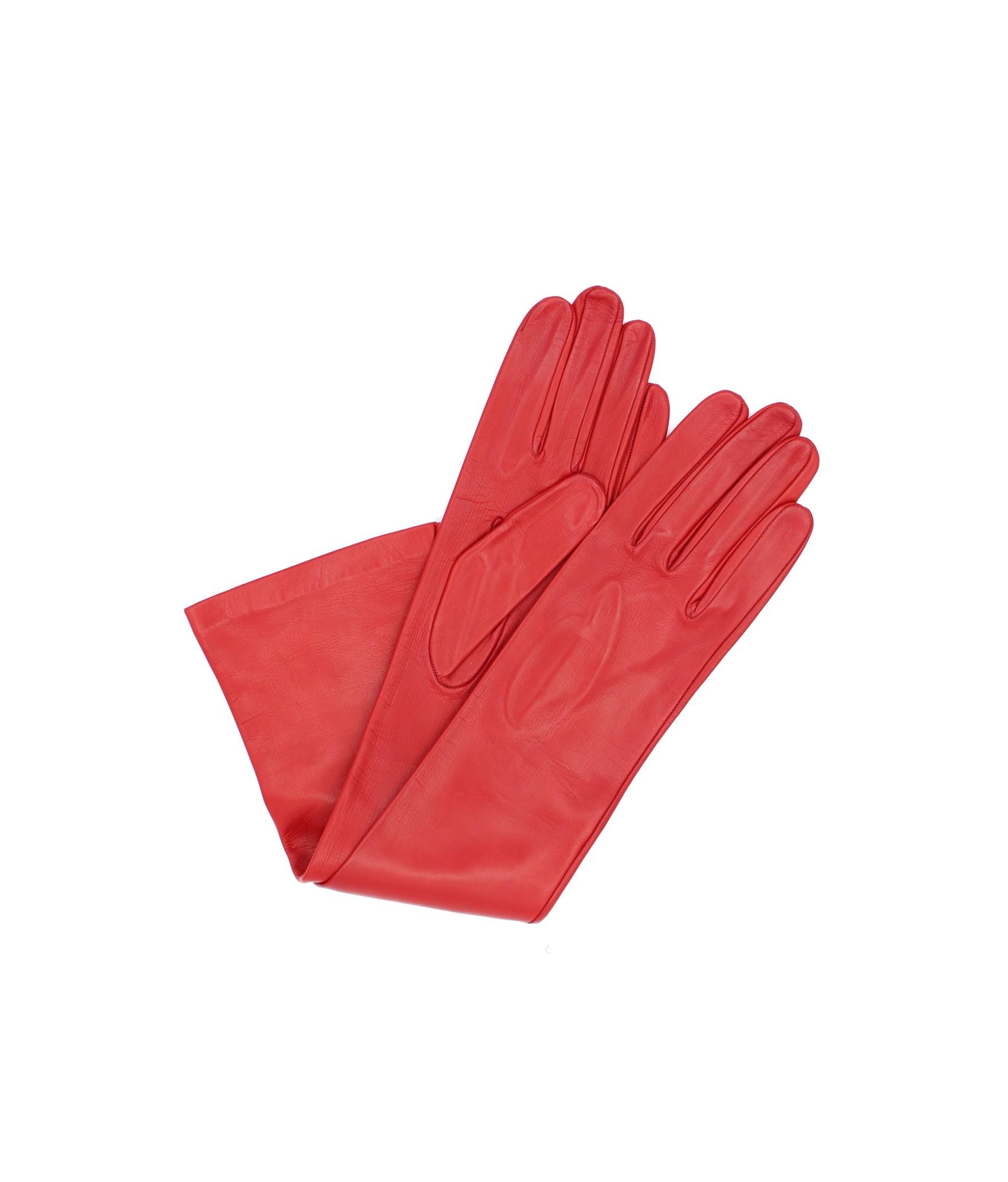 Nappa leather gloves 10bt silk lined Red Sermoneta Gloves
