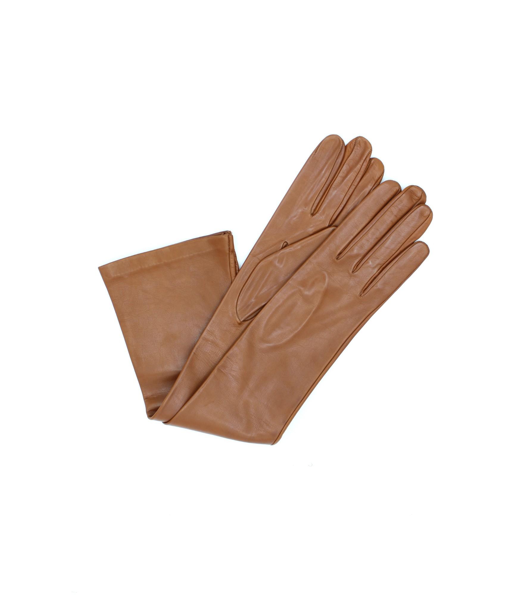 Nappa leather gloves 10bt silk lined Tan Sermoneta Gloves