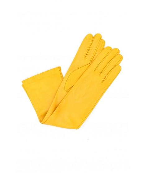 Nappa leather gloves 10bt silk lined Ocra Yellow Sermoneta