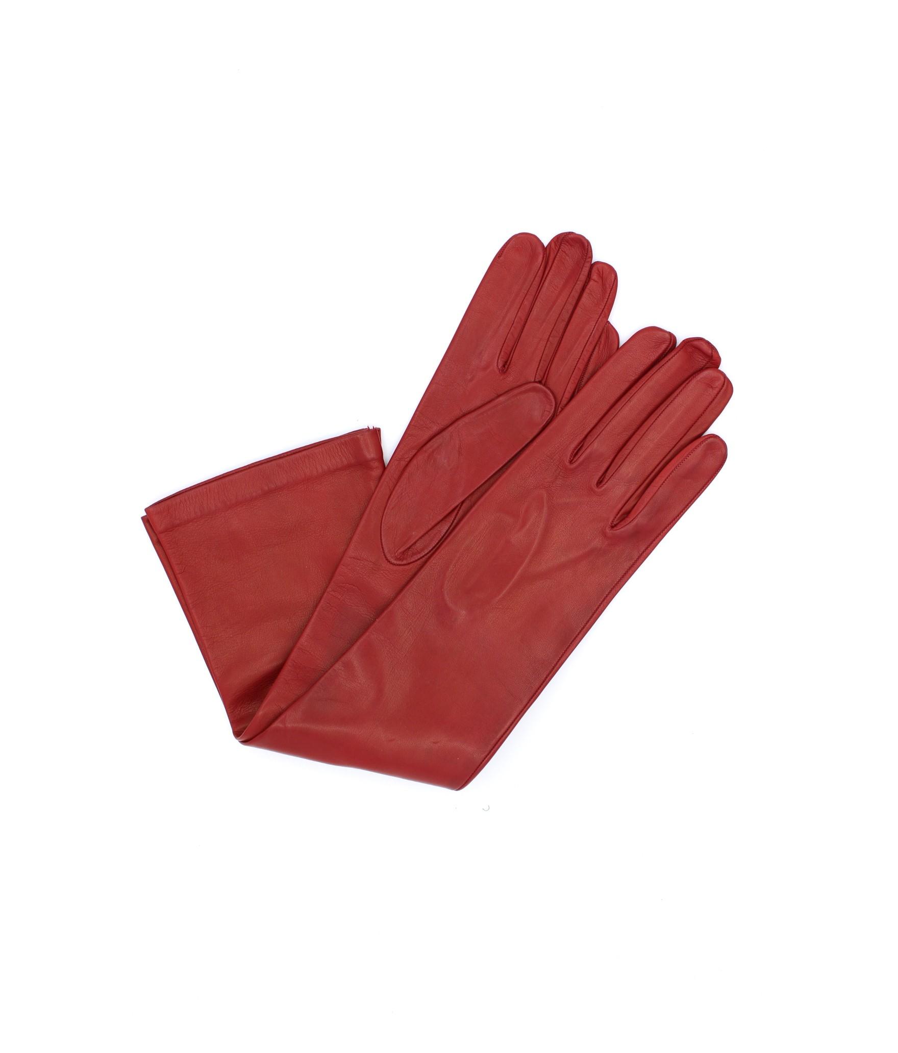 Nappa leather gloves 10bt silk lined Dark Red Sermoneta Gloves