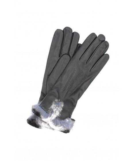 Glove Nappa cashmere lining with Rex edge Dark gray Sermoneta