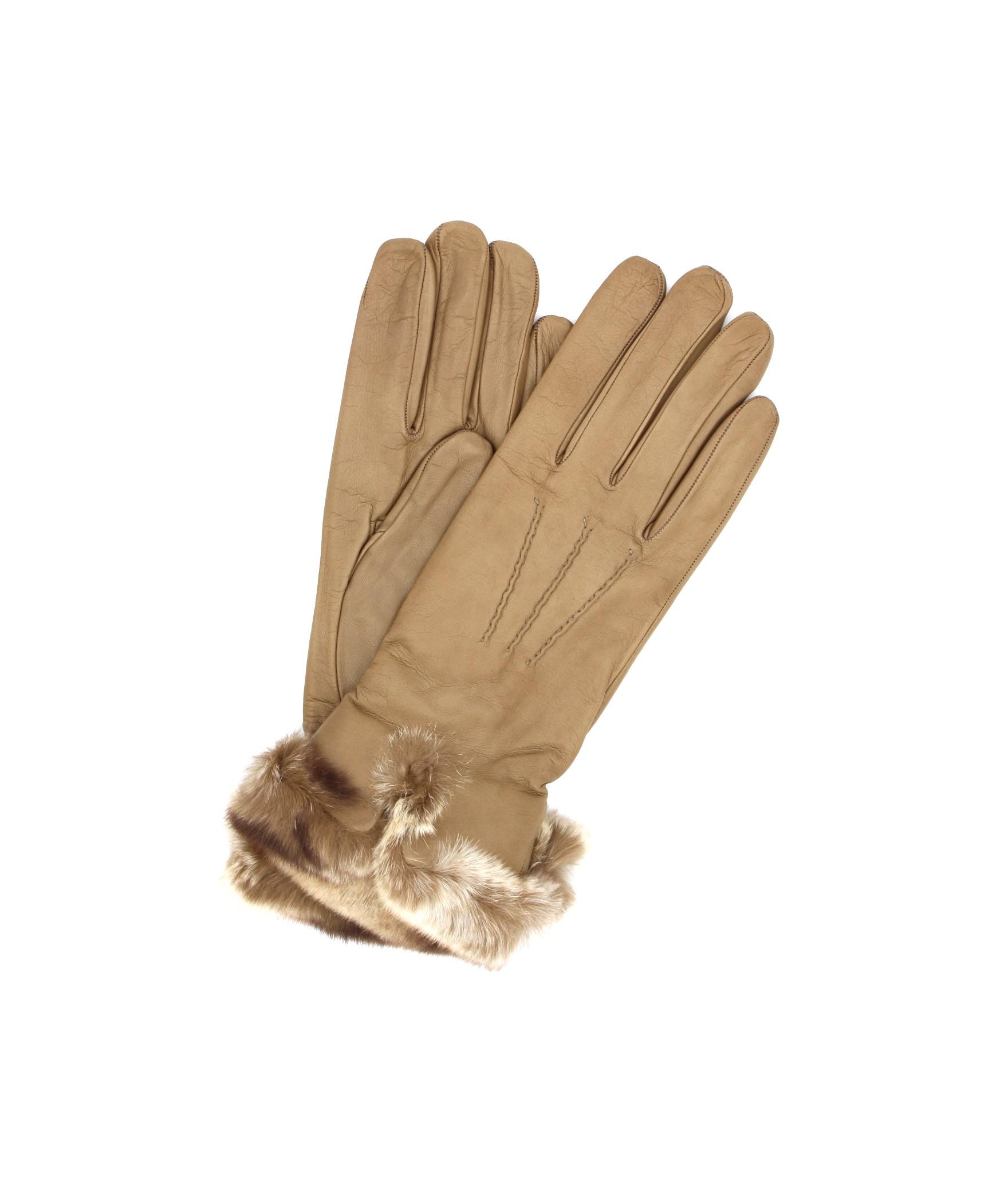 Glove Nappa cashmere lining with Rex edge Taupe Sermoneta