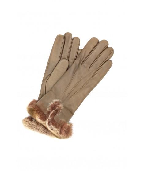 Glove Nappa cashmere lining with Rex edge Mud Sermoneta Gloves