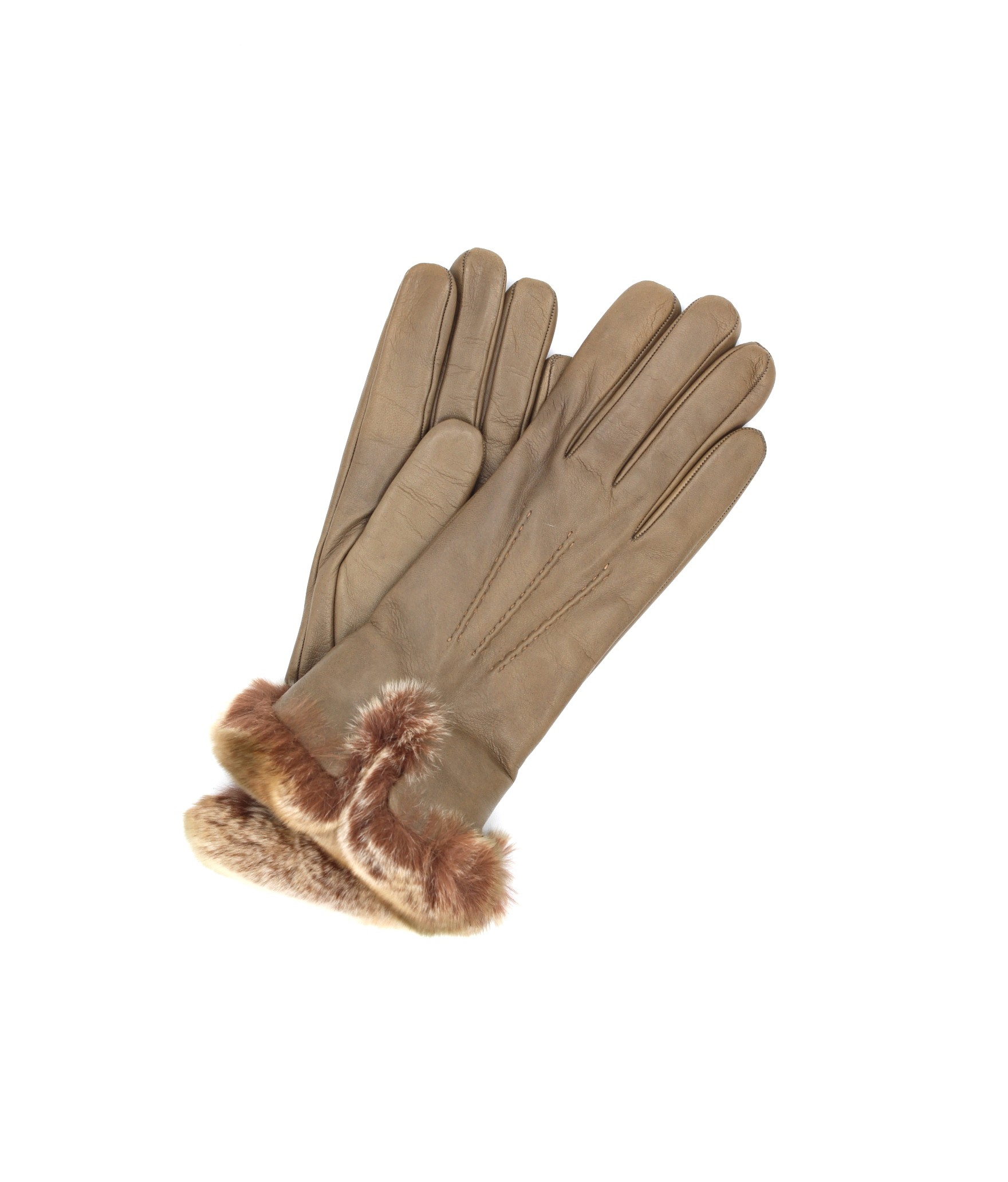 Guanto Nappa fodera cashmere bordo Rex Fango Sermoneta Gloves
