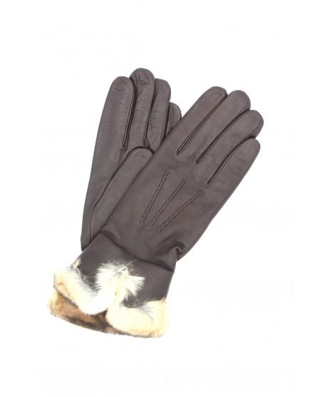 Glove Nappa cashmere lining with Rex edge Brown Sermoneta
