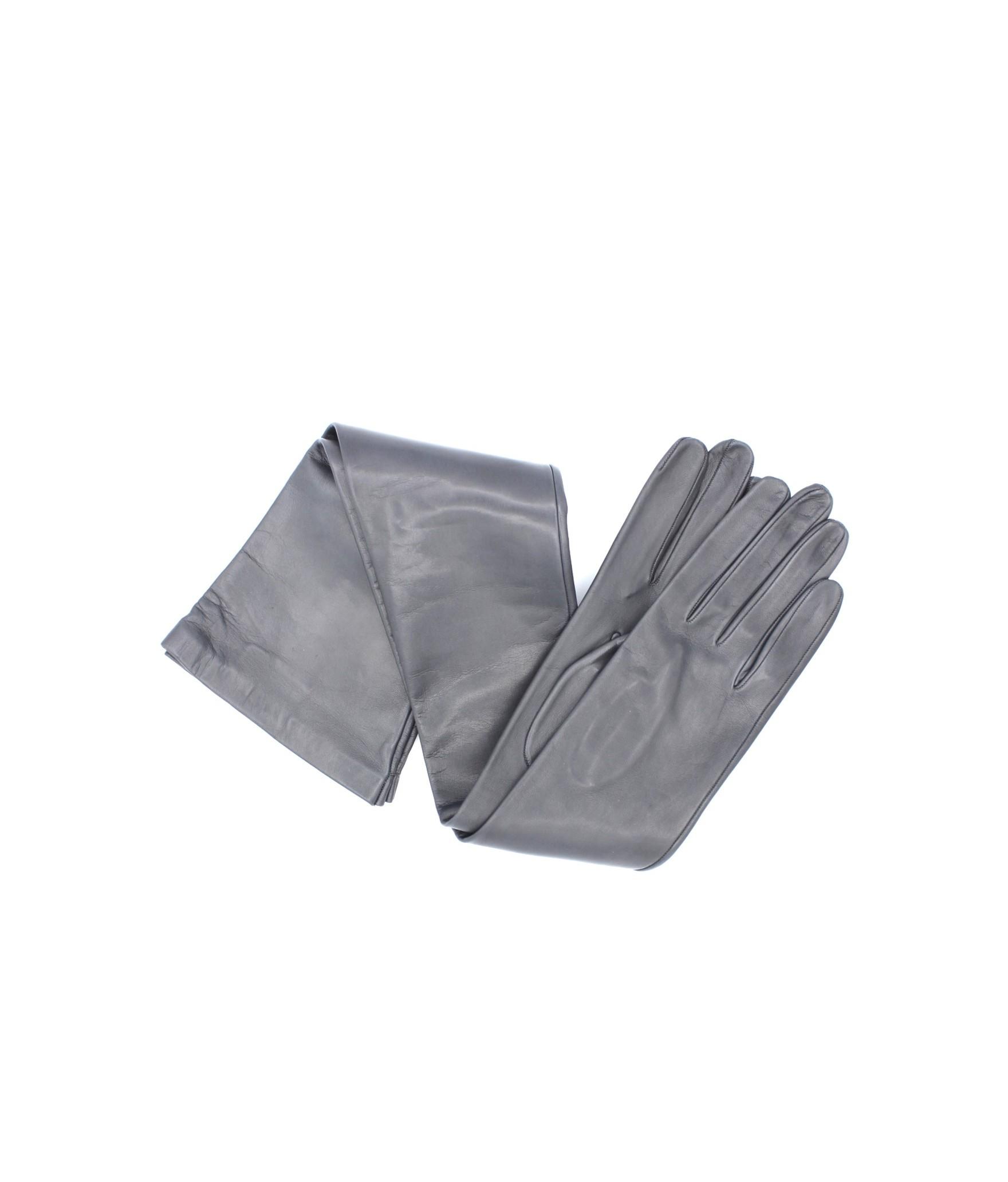 Nappa leather gloves 16bt silk lined Dark Grey Sermoneta Gloves