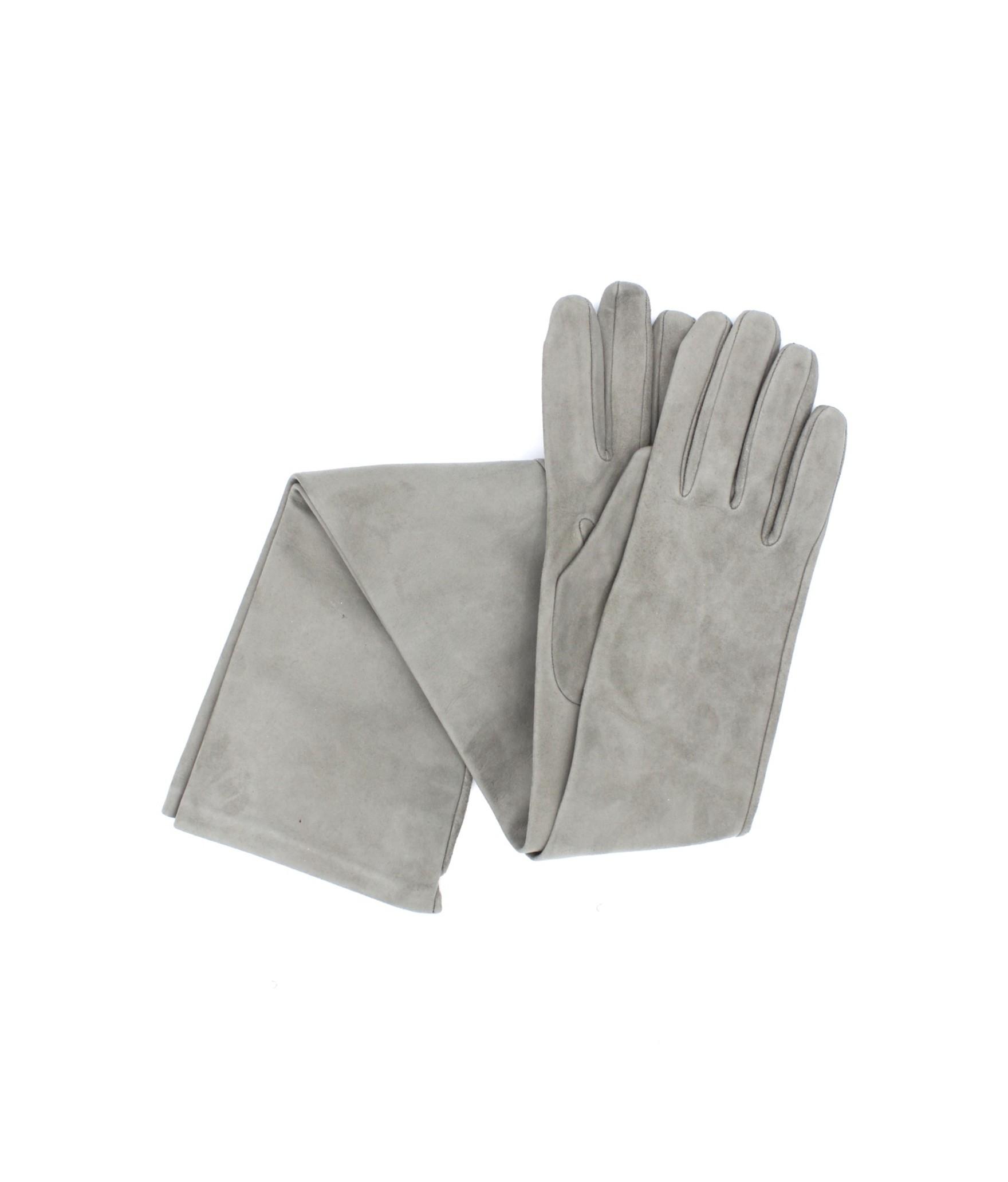 Suede Nappa leather gloves 16bt Silk lined Pearl Grey Sermoneta