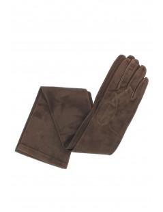 Suede Nappa leather gloves 16bt Silk lined Dark brown Sermoneta