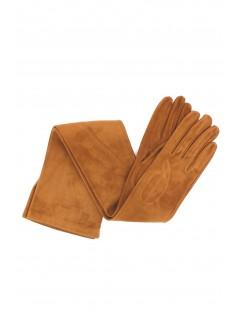Suede Nappa leather gloves 16bt Silk lined Tan Sermoneta Gloves
