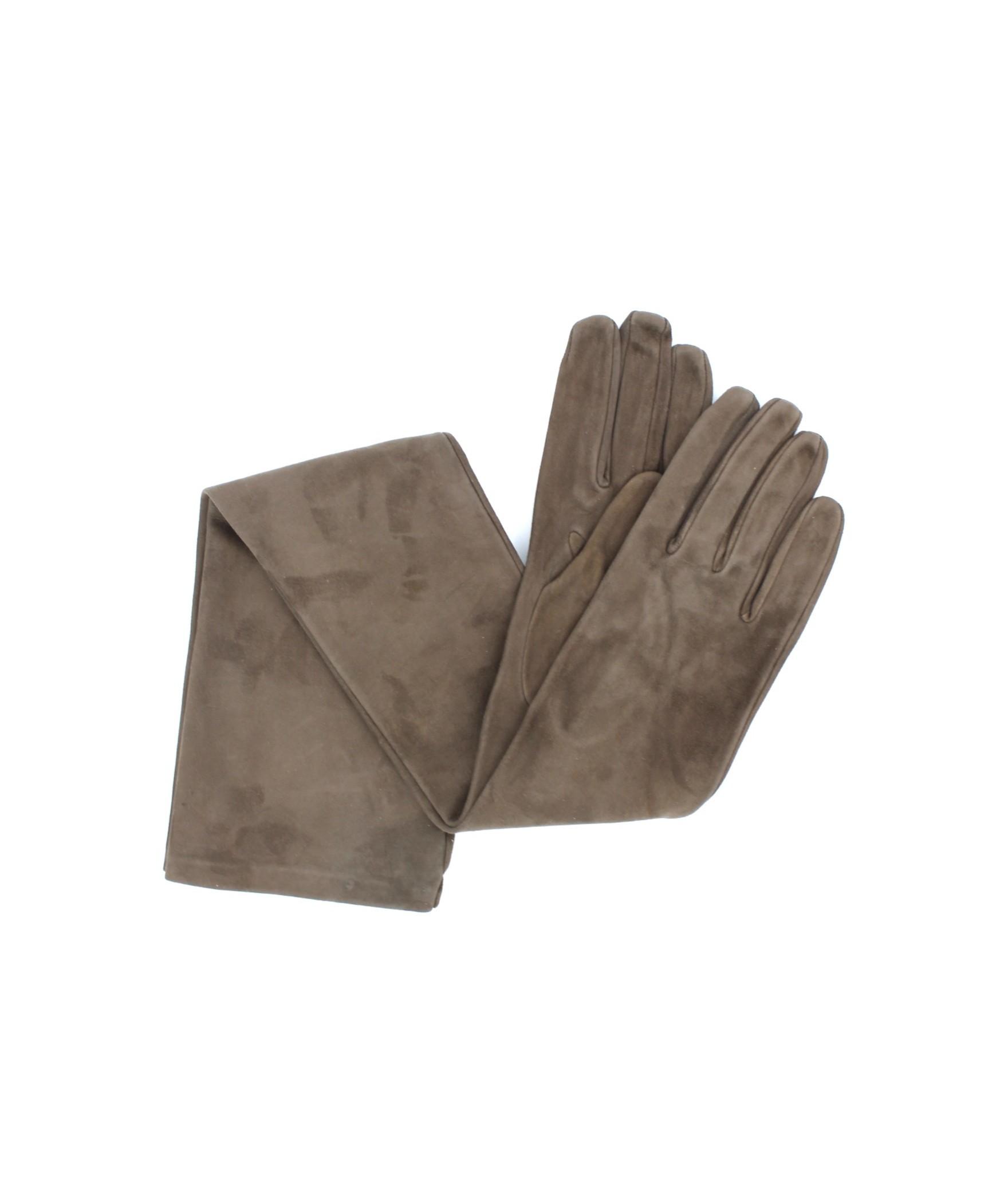 Suede Nappa leather gloves 16bt Silk lined Mud Sermoneta Gloves