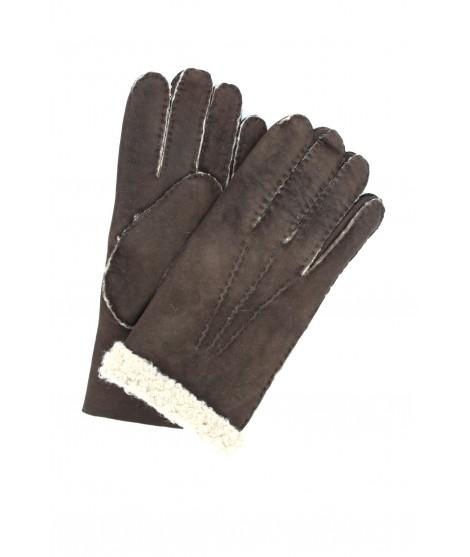 Sheepskin gloves with hand stitching Dark Brown Sermoneta