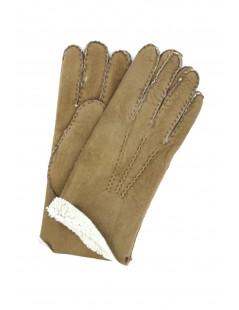 Sheepskin gloves with hand stitching Beige/Taupe Sermoneta
