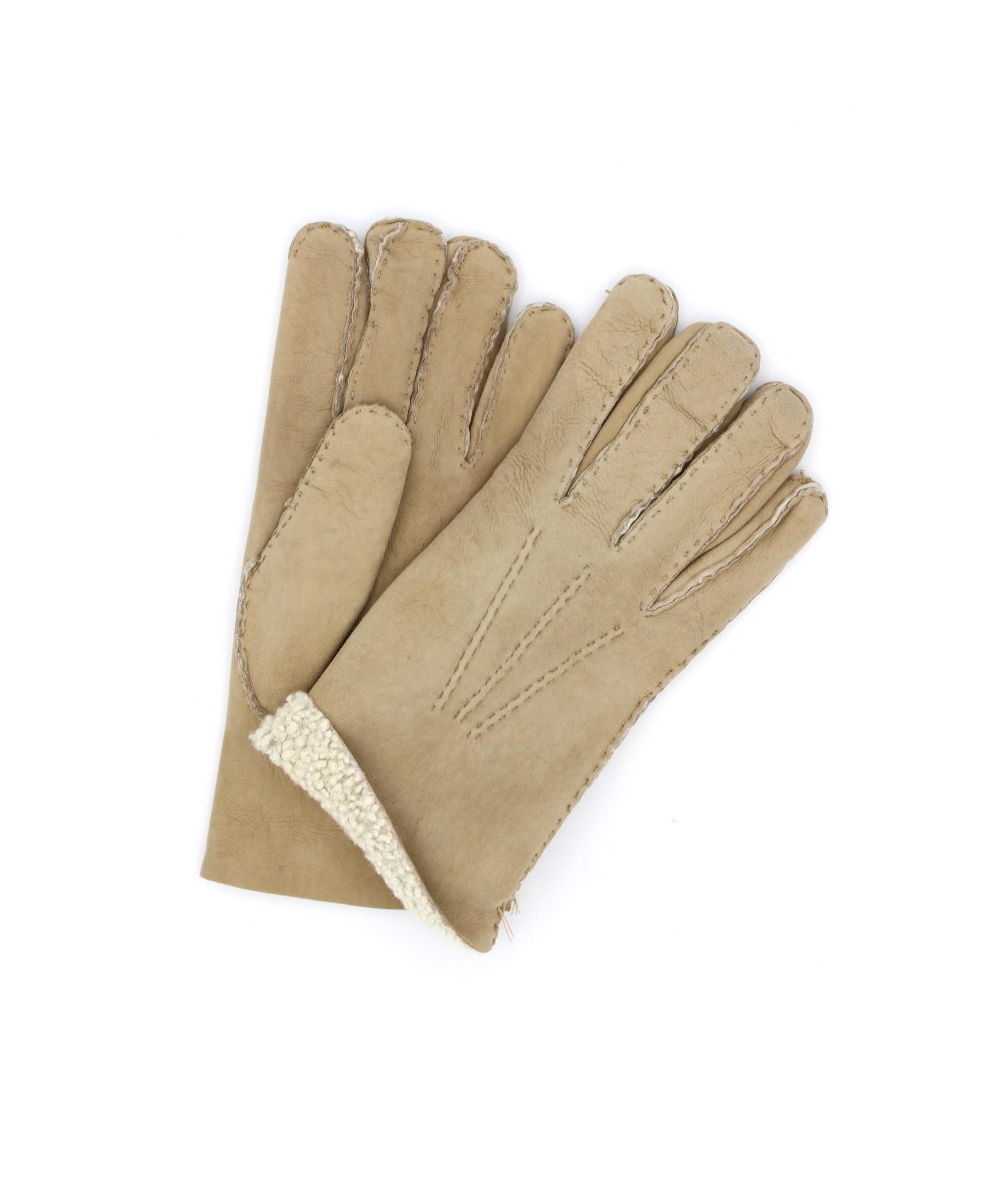 Sheepskin gloves with hand stitching Light Beige Sermoneta