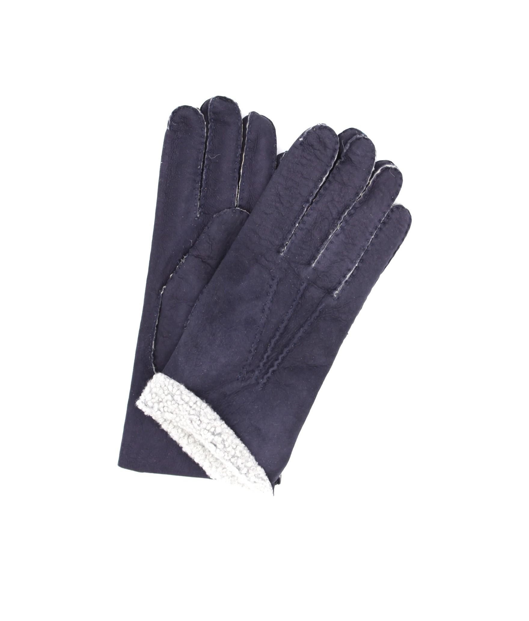 Sheepskin gloves with hand stitching Navy Sermoneta Gloves