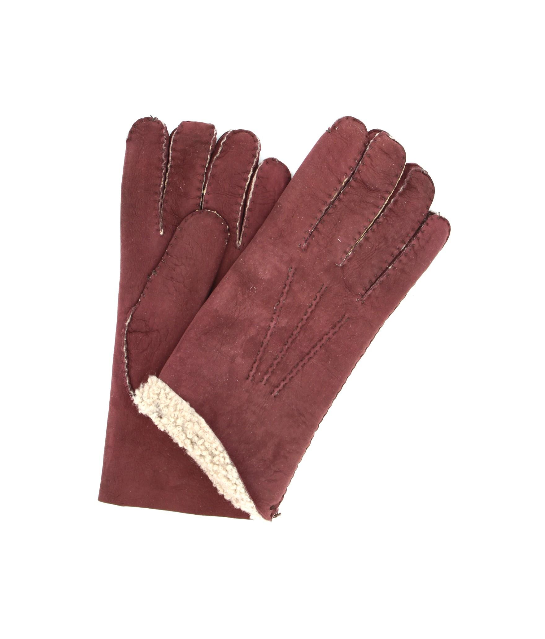 Sheepskin gloves with hand stitching Bordeaux Sermoneta Gloves
