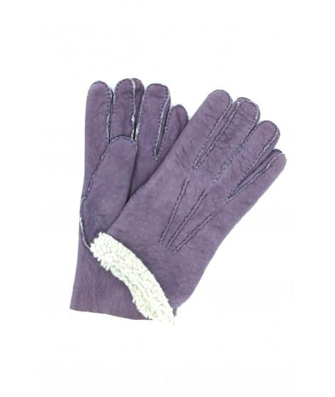 Sheepskin gloves with hand stitching Lilac Sermoneta Gloves