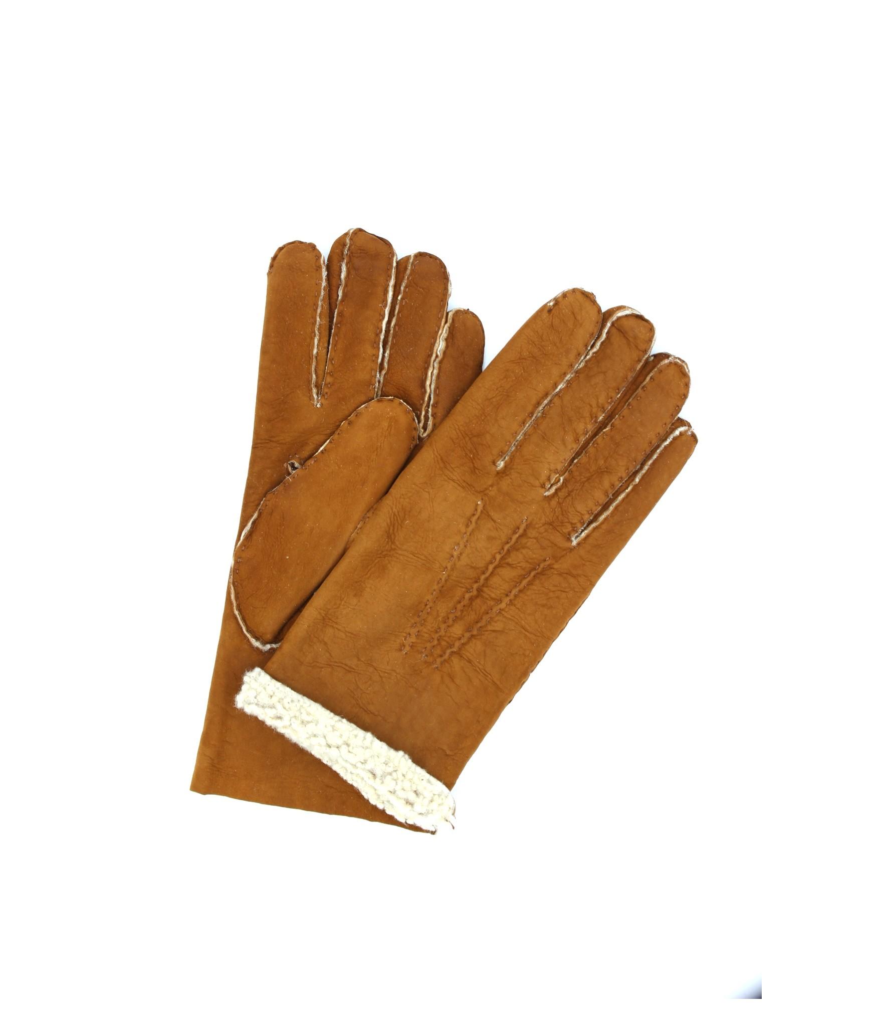 Sheepskin gloves with hand stitching Tan Sermoneta Gloves