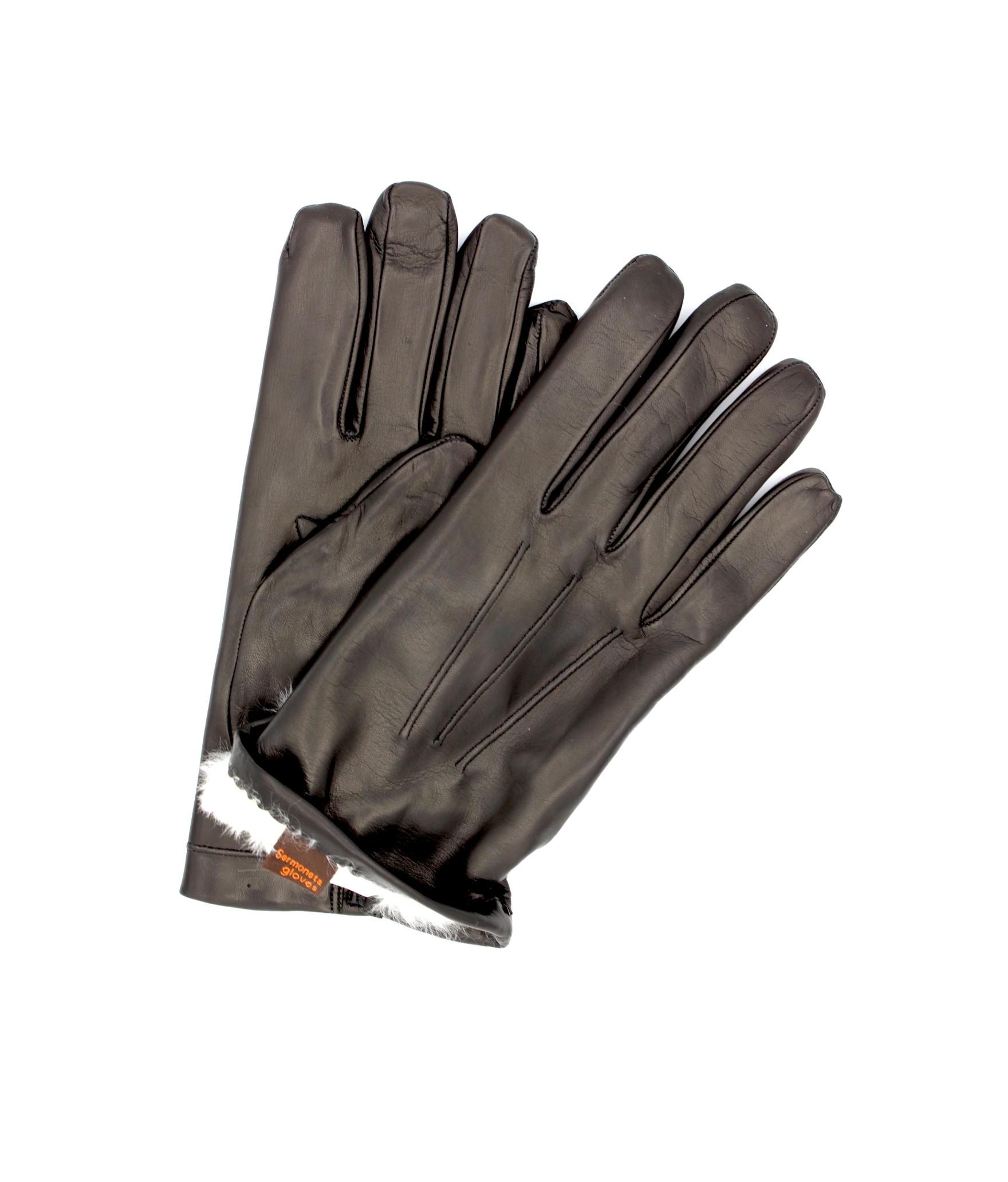 Nappa leather gloves 2bt Rabbit fur lined Black Sermoneta