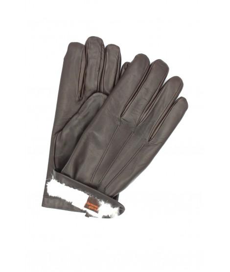 Nappa glove lined Lapin Brown Sermoneta Gloves Leather