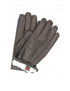 Nappa leather gloves 2bt Rabbit fur lined Dark Brown Sermoneta