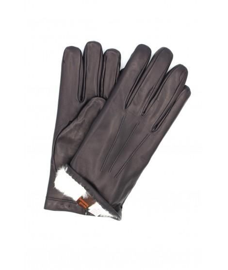 Nappa leather gloves 2bt Rabbit fur lined Navy Sermoneta Gloves