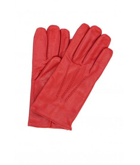 Nappa leather gloves cashmere lined Red Sermoneta Gloves Leather