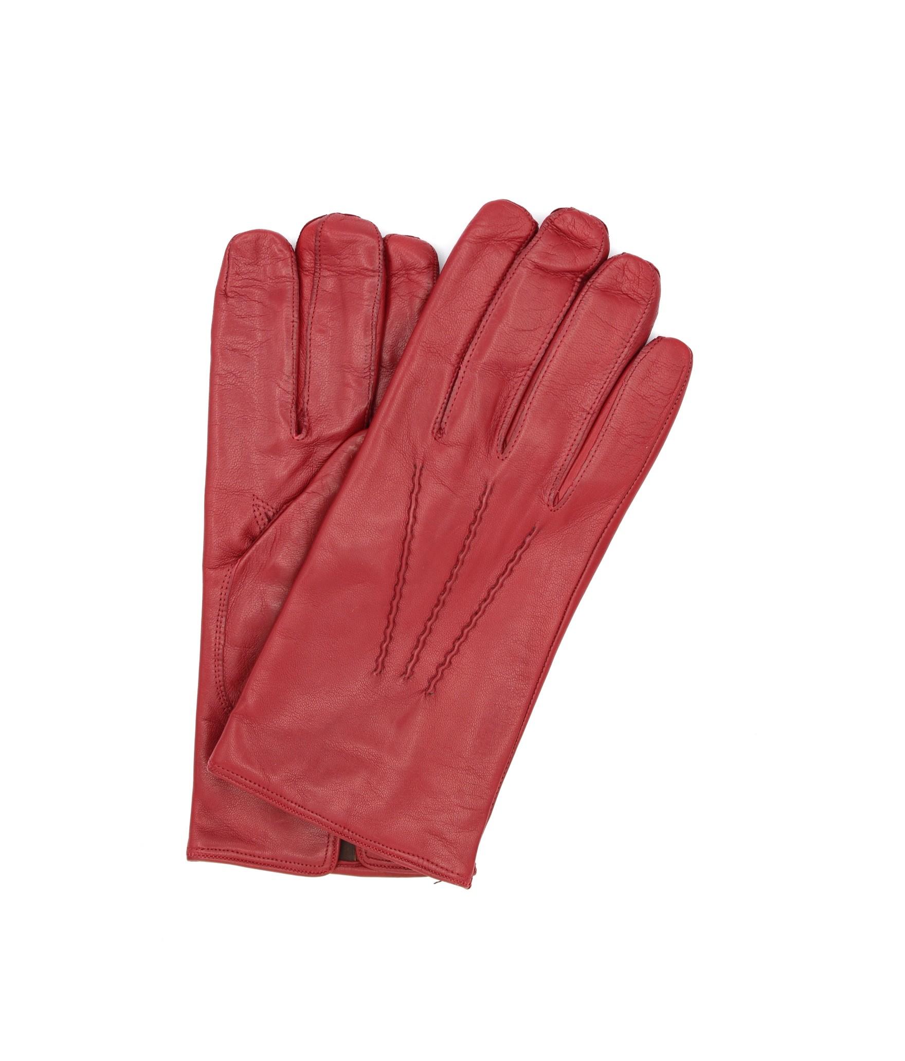 Nappa leather gloves cashmere lined Dark Red Sermoneta Gloves