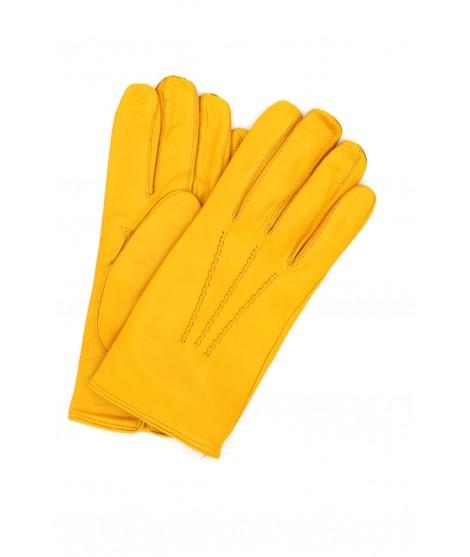 Nappa leather gloves cashmere lined Ocra Yellow Sermoneta