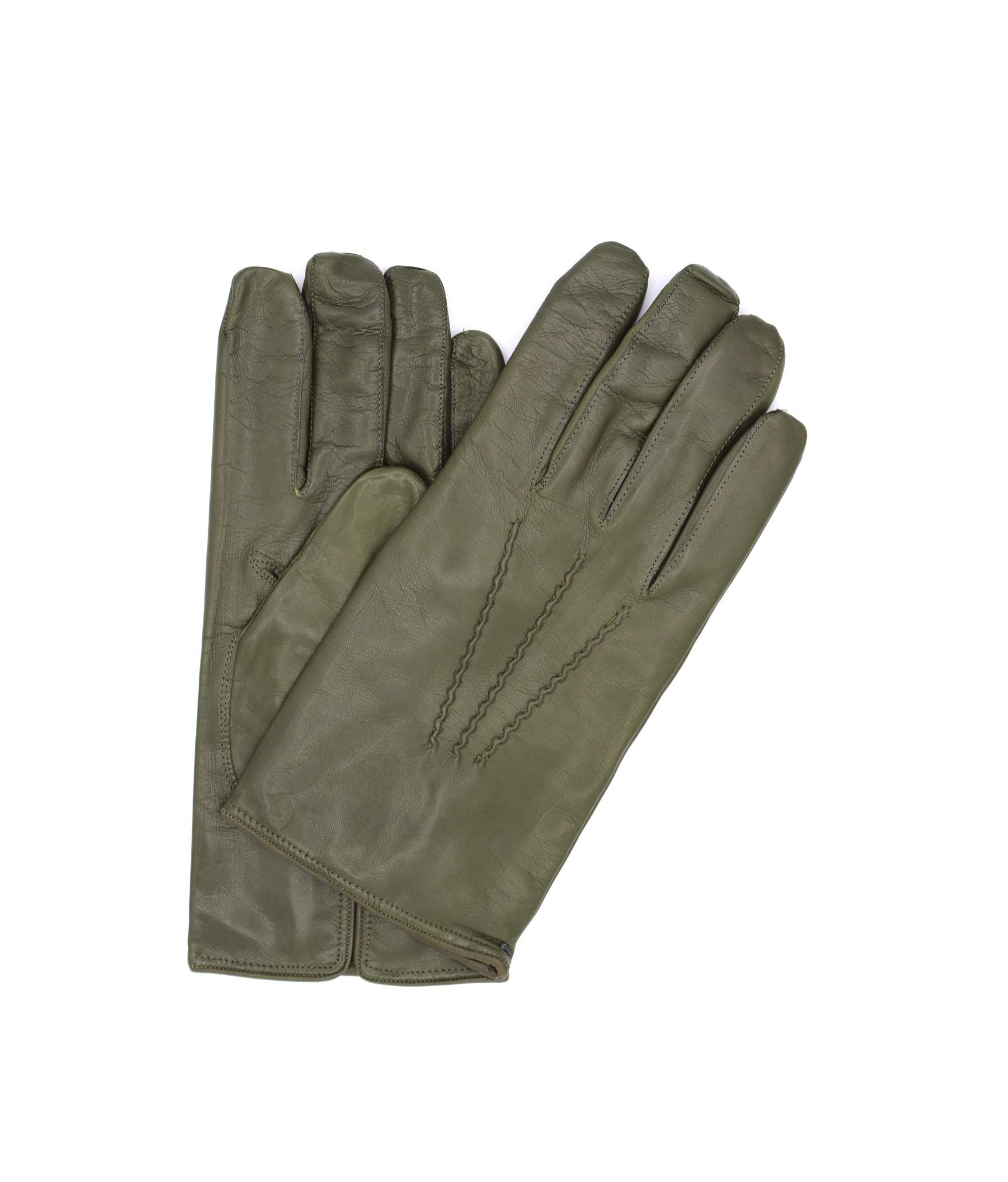 Nappa leather gloves cashmere lined Military Green Sermoneta