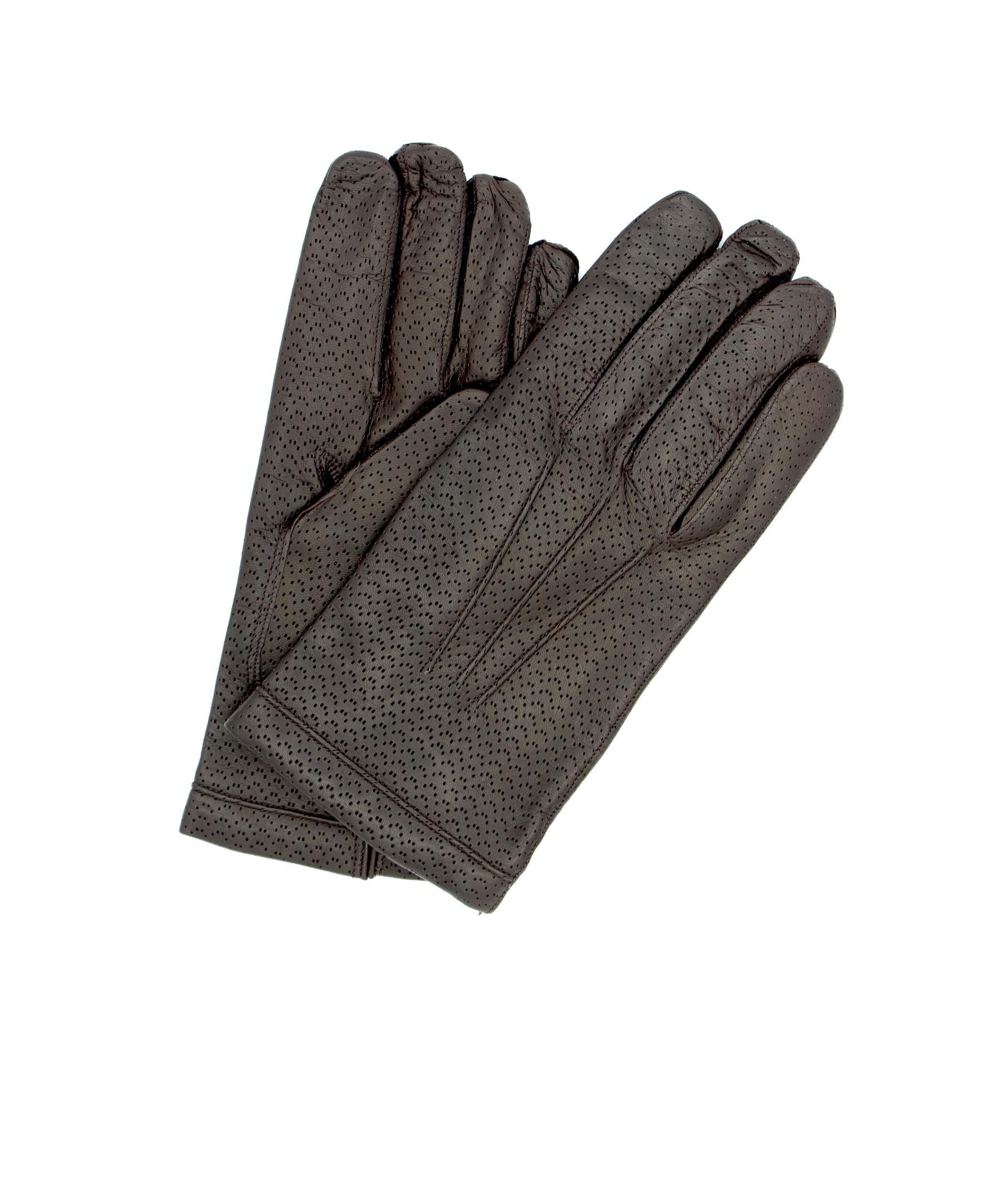 Nappa leather gloves 2bt cashmere lined Dark Brown Sermoneta