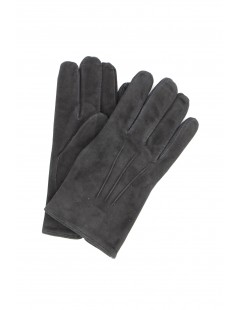 Suede Nappa leather gloves cashmere lined Black Sermoneta