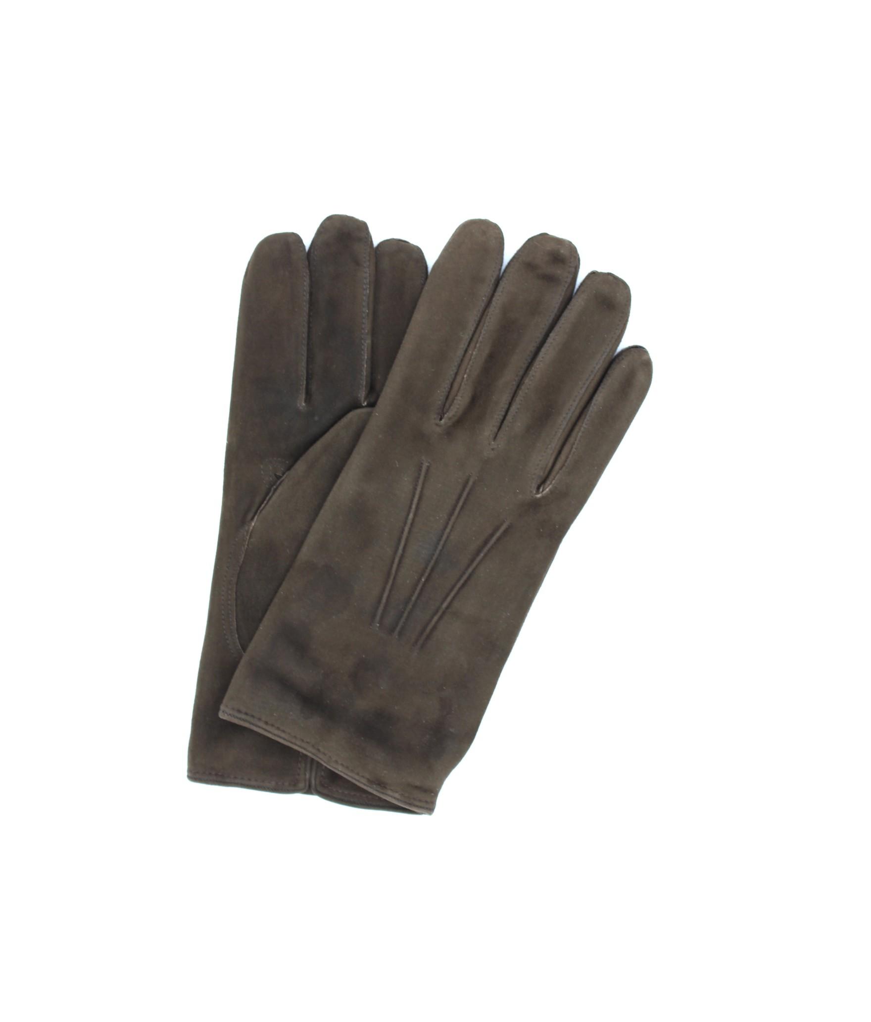 Suede Nappa leather gloves cashmere lined Dark Brown Sermoneta